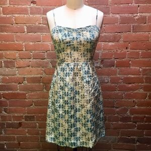 Anthropologie Blue and Beige Abstract Silk Dress